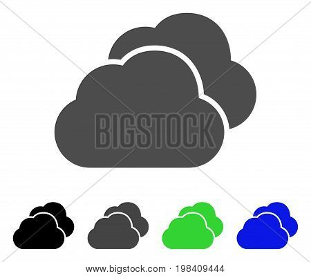 Clouds flat vector pictograph. Colored clouds, gray, black, blue, green pictogram variants. Flat icon style for web design.