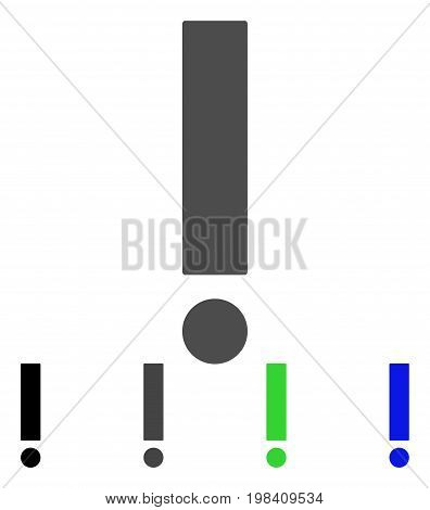 Exclamation Sign flat vector pictograph. Colored exclamation sign, gray, black, blue, green icon versions. Flat icon style for web design.