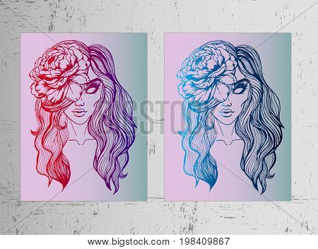 Set - two beautiful art posters - a girl with a color. Beautiful pink and purple gradient and blue metallic gradient. Gothic style, the idea for Halloween. Youth sketch of tattoo, trend of the season