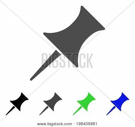 Pin flat vector icon. Colored pin, gray, black, blue, green pictogram versions. Flat icon style for graphic design.