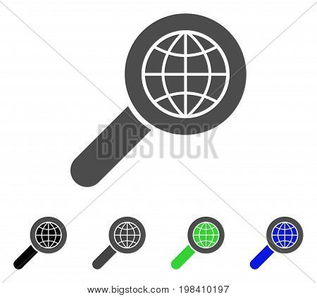 Search Globe Place flat vector pictogram. Colored search globe place, gray, black, blue, green icon variants. Flat icon style for graphic design.