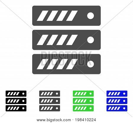 Server flat vector icon. Colored server, gray, black, blue, green pictogram versions. Flat icon style for web design.