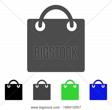 Shopping Bag flat vector pictogram. Colored shopping bag, gray, black, blue, green pictogram versions. Flat icon style for web design.