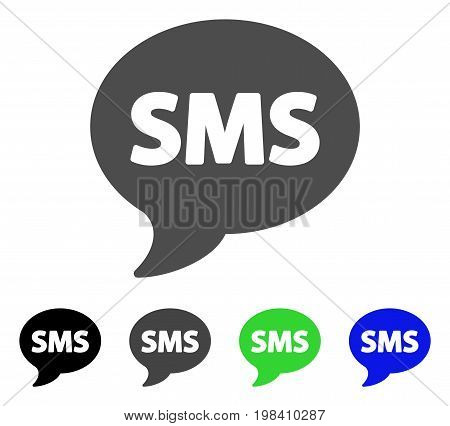 SMS flat vector icon. Colored sms, gray, black, blue, green icon variants. Flat icon style for graphic design.