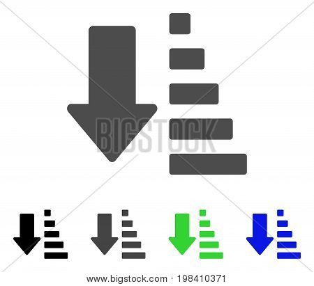Sort Down Arrow flat vector pictogram. Colored sort down arrow, gray, black, blue, green icon versions. Flat icon style for application design.
