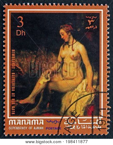MANAMA - CIRCA 1972: a stamp printed in Manama shows Bathsheba at Her Bath Nude Painting by Rembrandt Dutch Draughtsman Painter and Printmaker circa 1972