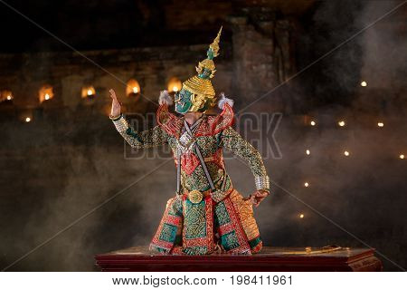 Thailand Khon character in Ramayana story ancient of Asia.
