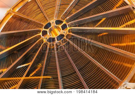 Metallic Copper Construction Part Of The Circular Mechanism