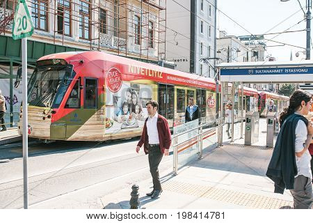 Editorial image of modern turkish overground metro train or tram in the city near Sultanahmet station in Istanbul on June 15 2017.