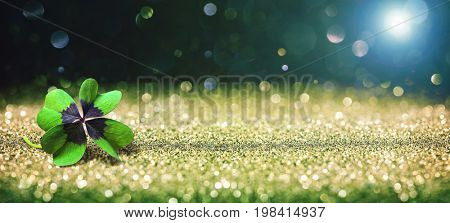 Abstract background with four leaf lucky clover