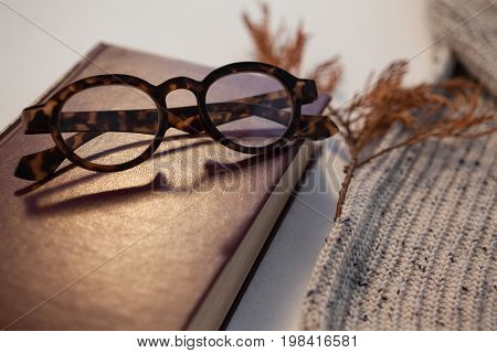 Woolen cloth with diary and spectacles on white background