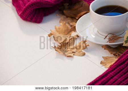 Cup of black tea with autumn leaves and woolen cloth on white background