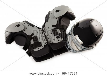 Chest protector with sports helmet on white background