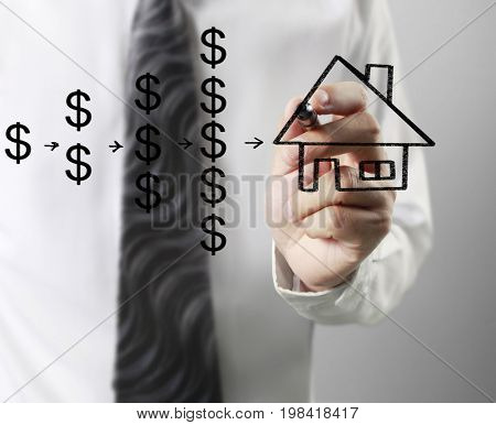 Businessman draw house, American dollar currency symbol for mortgage calculator to estimate mortgage payments used by purchasers of real property to raise funds to buy real estate, financial concept