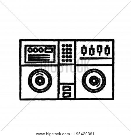 figure stereo to play and listen to music vector illustration