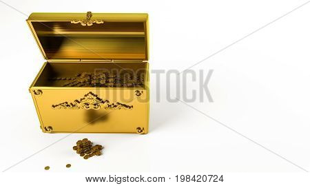 Golden 3D Rendering Of A Gold Chest Isolated On White
