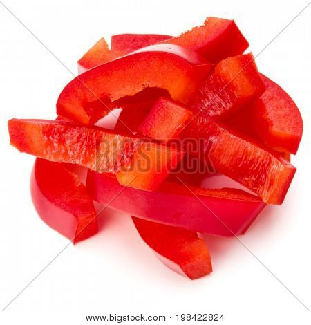 Red sweet bell pepper sliced strips isolated on white background cutout
