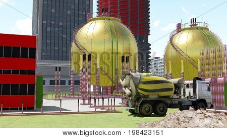 Nuclear power plant 3d rendering