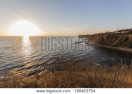Rancho Palos Verdes pacific ocean sunset in Los Angeles County, California.