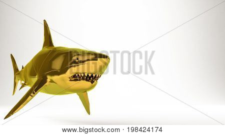 Golden 3D Rendering Of A Shark Isolated On White