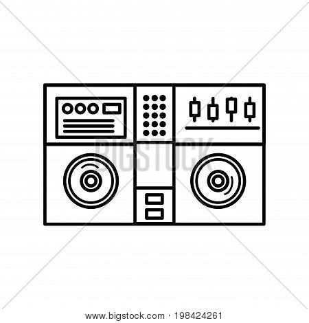 line stereo to play and listen to music vector illustration