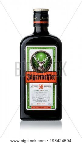 Samara, Russia - august 2017. Product shot of Jagermeister German digestif bottle isolated on white