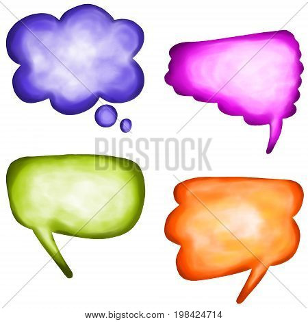 A set of four digitally painted watercolour style speech bubbles.