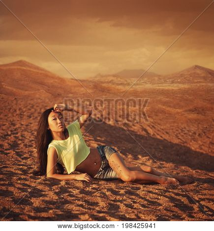 Woman relax on the sand