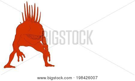 Outlined Monster Isolated On White 3D Rendering