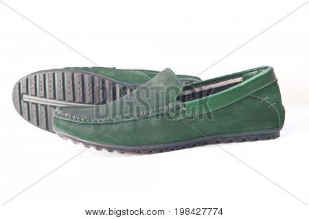 Comfortable male moccasins on a white background. close-up