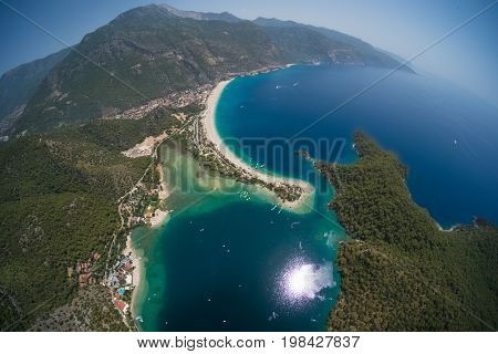 Aerial view of the beach of Oludeniz and Blue Lagoon, Fethiye, Turkey