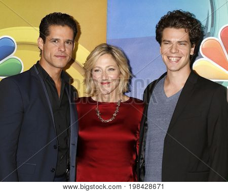 LOS ANGELES - AUG 3:  Miles Gaston Villanueva, Edie Falco, Gus Halper at the NBC TCA Press Day Summer 2017 at the Beverly Hilton Hotel on August 3, 2017 in Beverly Hills, CA
