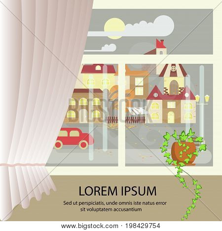 Autumn colorful landscape banner. window view of stormy weather. Small town landscape in flat style. Vector illustration