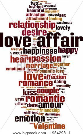 Love affair word cloud concept. Vector illustration poster