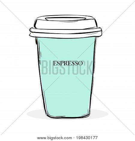 Illustration Vector Of A Paper Cup Of Espresso Coffee Turquoise Color With Freehand Write Text Espre