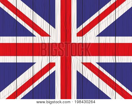 flag of Great Britain painted on a wooden wall