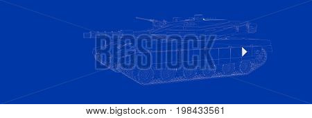 3D Rendering Of A Tank On A Blue Background Blueprint