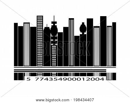 Black Barcode City Silhouette with Numbers Over White Background