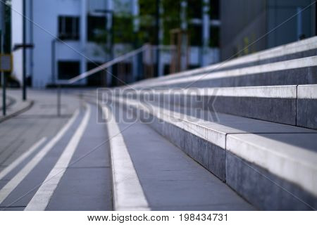 Close up stairs with white stripes in perspective