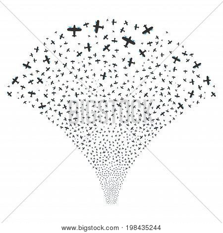 Source of aircraft symbols. Vector illustration style is flat blue and gray iconic symbols on a white background. Object salute organized from scattered pictographs.
