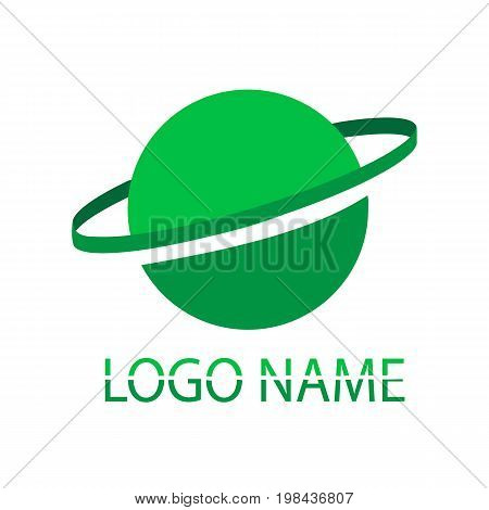 Green logo. A name of the company on a white background. Vector picture