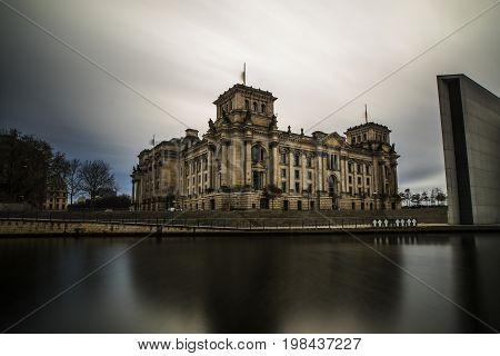 Long Exposure of Berlin Reichstag building with views of the Spree