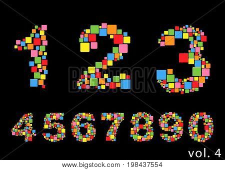 Arabic numerals set 1-10. Colored figures Version 4