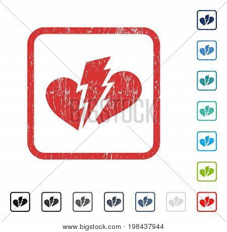 Broken Heart rubber watermark in some color versions.. Vector icon symbol inside rounded rectangular frame with grunge design and unclean texture. Stamp seal illustration, unclean sticker.