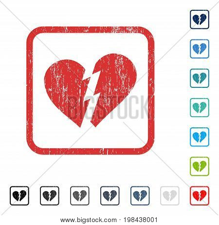 Broken Heart rubber watermark in some color versions.. Vector pictogram symbol inside rounded rectangular frame with grunge design and scratched texture. Stamp seal illustration, unclean sticker.