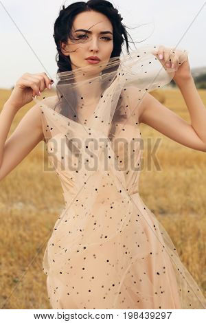 Girl With Dark Hair In Elegant Dress Posing On The Hay