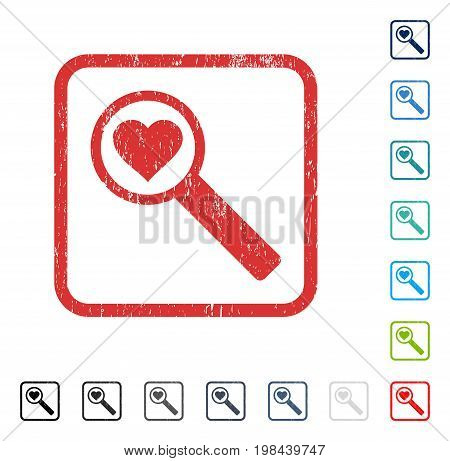 Find Love rubber watermark in some color versions.. Vector pictogram symbol inside rounded rectangle with grunge design and dust texture. Stamp seal illustration, unclean emblem.