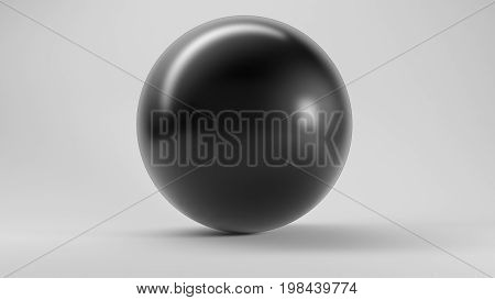 Big Black Reflective Sphere On White 3D Rendering