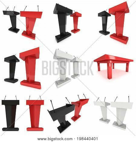 3d Speaker Podium set. Red and Black Tribune Rostrum Stand with Microphones. 3d render isolated on white background. Debate, press conference concept