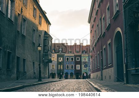 POZNAN, POLAND - AUGUST 05 2015 - beautiful part of the old town the center of Poznan with its unique architecture